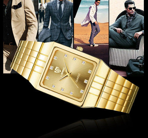 Nesa Fashion Golden Quartz Watch Men Women's Watches  Top Luxury Gold Bracelet Wrist Watches Steel Female Male