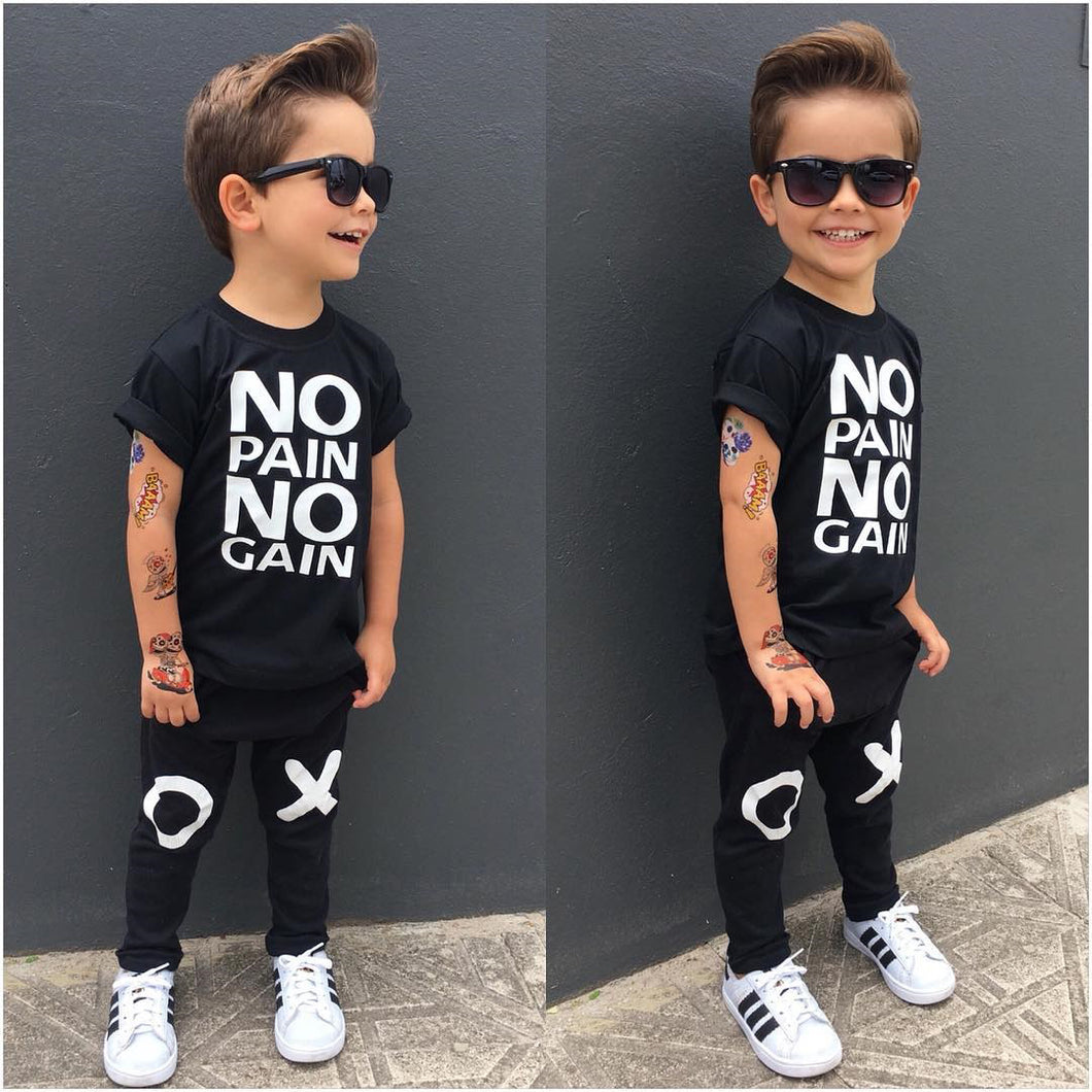 Nesa Fashion Cool Baby Boy Kids Clothes No Pain No Gain Print Tops T-shirt Short Sleeve + Pants Casual 2pcs Outfits Set  Kids Clothing