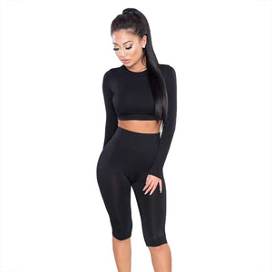 Nesa Fashion Women Set new high quality Fashion Suit Crop Top Pants O-Neck Party Outfit Workout Clothes women