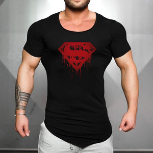 Nesa Fashion Brand Cotton mens gyms Clothing Male Slim Fit t shirt Man fitness T-shirts Casual O-neck T-Shirts superman print mens tops tees