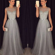 Load image into Gallery viewer, Nesa Fashion Sequin Patchwork Dress Evening Party Sleeveless O Neck Long Belt Slim Elegant Dress