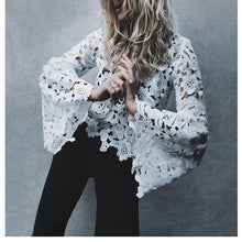Load image into Gallery viewer, Nesa Fashion Elegant floral lace blouse shirt Women Flare sleeve blouse  hollow out Sexy top blouse