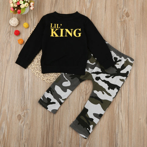 Nesa Fashion Boys Clothes Set Long Sleeve Letter Print T-shirt Tops+Camouflage Pants Outfits Clothes Set For 1-5 Years Olds Kids Boys