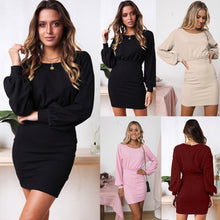 Load image into Gallery viewer, Nesa Fashion Women elegant dress robe hiver Ladies Long Sleeve Solid Lantern Sleeve Casual Loose Mini Dress vestidos verano