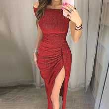 Load image into Gallery viewer, Nesa Fashion Elegant Women Dress Off Shoulder Party Dress High Slit Bodycon Short Sleeve Dresses