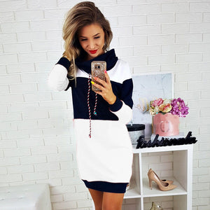 Nesa Fashion Women Collared Long Sleeve Dress Ladies Casual Bodycon Short Mini Sundress