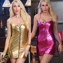 Load image into Gallery viewer, Nesa Fashion Party Dresses  Sleeveless Vestido Femme Sexy Bodycon Club Dress Ladies Leather Short Mini Dress
