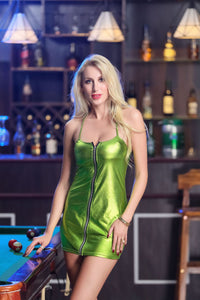 Nesa Fashion Sexy Women PU Leather Short Mini Dress Zipper Sleeveless Strapless Bodycon Nightwear Club-wear Hot