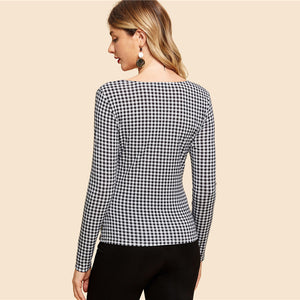 Nesa Fashion Black and White Knot Front Gingham Print Tee Vintage Long Sleeve V Neck Slim Fit Tops Women Elegant T-shirt