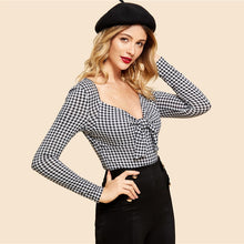 Load image into Gallery viewer, Nesa Fashion Black and White Knot Front Gingham Print Tee Vintage Long Sleeve V Neck Slim Fit Tops Women Elegant T-shirt