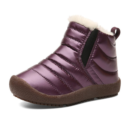 New Winter Children Shoes Leather Waterproof Martin Boots For Brand Girls Boys Rubber Boots Fashion Sneakers Baby Snow Boot