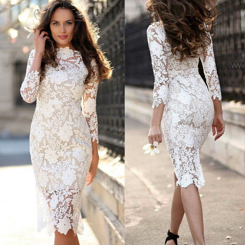 Nesa Fashion White Round Neck Lace Sheer Zipper Slim Body-con Dress Summer Elegant Women Pencil Dresses