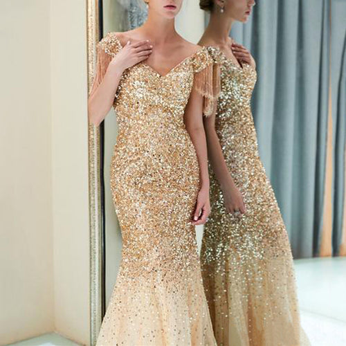 Nesa Fashion New Sexy party elegant dress  Deep V Sleeveless Neck less Long maxi gold Dress