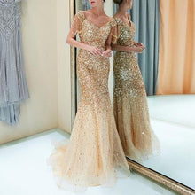 Load image into Gallery viewer, Nesa Fashion New Sexy party elegant dress  Deep V Sleeveless Neck less Long maxi gold Dress