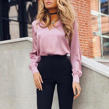 Load image into Gallery viewer, Nesa Fashion Women Fashion Office Blouse Long Sleeve Satin Blouse Vintage V Neck  Elegant Women Blouse