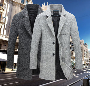 Nesa Fashion Autumn and Winter New Fashion Boutique Solid Color Casual Business Men's Long Woolen Coats / Mens Grey Long Woolen Jackets