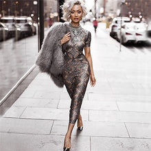 Load image into Gallery viewer, Nesa Fashion Gold Sparkly Dress Women Sexy Short Sleeve O-Neck Glitter Bodycon Celebrity Party Dresses