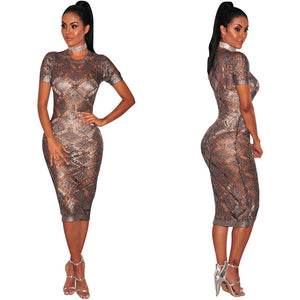 Nesa Fashion Gold Sparkly Dress Women Sexy Short Sleeve O-Neck Glitter Bodycon Celebrity Party Dresses