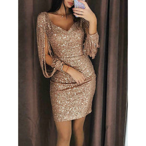 Nesa Fashion New arrival Solid Bandage Bodycon Party Dress for Women Sexy  Mini Dresses