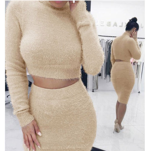 Nesa Fashion Two Piece Set Women Sweater +Pencil Skirt Suit Long sleeve Fleece Crop Tops Bodycon Skirt 2 Pieces Set Women Knitted Tracksuit
