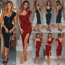 Load image into Gallery viewer, Nesa Fashion Hot Women's Bandage Dress  Skinny Solid One Shoulder V Neck Sexy Sleeveless Lady Evening Party Club Short Dresses