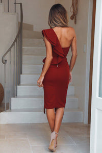 Nesa Fashion Hot Women's Bandage Dress  Skinny Solid One Shoulder V Neck Sexy Sleeveless Lady Evening Party Club Short Dresses