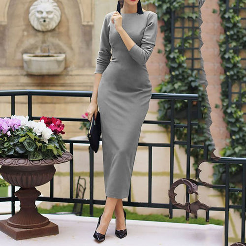 Nesa Fashion Dress Women Elegant French Vintage Fashion Sexy Split Party Casual Plus Size  Office Dress