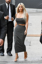Load image into Gallery viewer, Nesa Fashion  Kim Kardashian two piece set  gray skirts sets 2 piece set women solid color cotton matching set