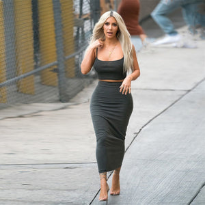 Nesa Fashion  Kim Kardashian two piece set  gray skirts sets 2 piece set women solid color cotton matching set