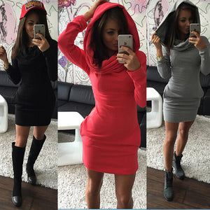 Nesa Fashion Autumn Winter Warm Sweatshirt Long-sleeved Dress  Woman Clothing Hooded Collar Pocket Design Simple Woman Dress