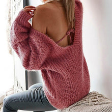 Load image into Gallery viewer, Nesa Fashion Autumn Sweater Women Sexy Women V-Neck Sweater Casual Leak Back Knitted Loose Long Sleeve Pullover Virgin Killer Sweater
