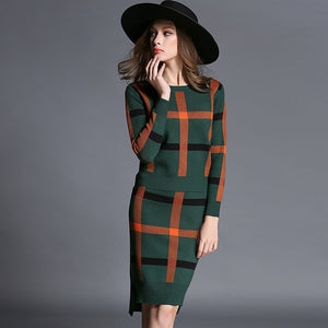 Nesa Fashion Autumn Winter Celebrities Suit Women Skirt Long Sleeve 2 Piece Set Office Women's Suits And Skirts Stripe Wool Knitwear Sweater Skirt