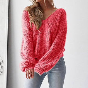 Nesa Fashion Autumn Sweater Women Sexy Women V-Neck Sweater Casual Leak Back Knitted Loose Long Sleeve Pullover Virgin Killer Sweater