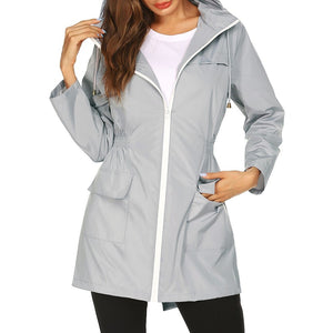 Nesa Fashion  Autumn Winter Women Waterproof jacket Packable Hooded Jacket Outdoor Hiking Clothes Lightweight Raincoat For Women
