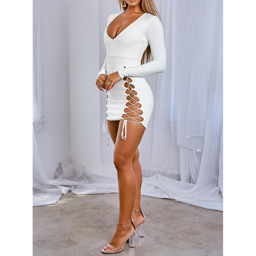 Nesa Fashion Women Mini Sexy Dress  Fall Winter Elegant Party Night Club Dress