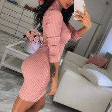 Load image into Gallery viewer, Nesa Fashion Women Autumn Winter Casual Sweaters Long Sleeve Turtleneck Knitted Stretchable Elasticity Sweater Female Slim Bodycon Dress