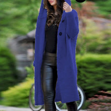 Load image into Gallery viewer, Nesa Fashion Women Long knitted Cardigan Hooded Sweater Solid Autumn Long Coat Winter Knitting Coat