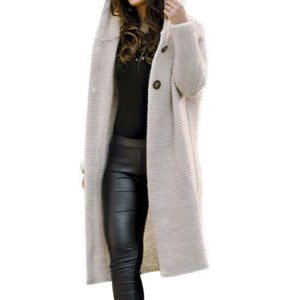 Nesa Fashion Women Long knitted Cardigan Hooded Sweater Solid Autumn Long Coat Winter Knitting Coat