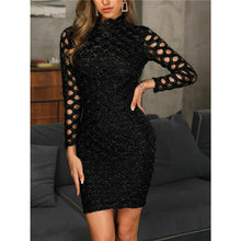 Load image into Gallery viewer, Nesa Fashion Women O Neck Long Sleeve Mini Dress Hollow Out Sequined Black Dress Elegant Ladies Slim Dress