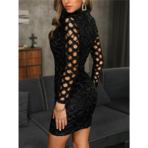 Nesa Fashion Women O Neck Long Sleeve Mini Dress Hollow Out Sequined Black Dress Elegant Ladies Slim Dress