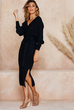 Load image into Gallery viewer, Nesa Fashion Autumn Winter Women's Knit Long Sleeve Dress Sexy V-neck Strap Solid Colors  Elastic Casual Dress