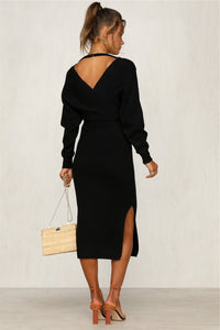 Nesa Fashion Autumn Winter Women's Knit Long Sleeve Dress Sexy V-neck Strap Solid Colors  Elastic Casual Dress