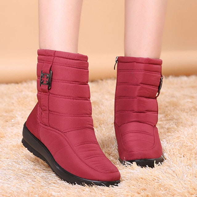 Nesa Fashion Women Ankle Boots  Winter Boots Female Warm Plush Snow Boots Middle Aged Mother Shoes Solid Fashion Waterproof Cotton Boots