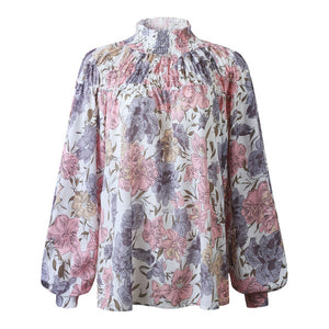 Nesa Fashion High Collar Blouse Fashion Ladies Floral Long Sleeve Casual Shirt Top Loose Lantern Sleeve Printed Turtle Neck Blouse Shirt Top