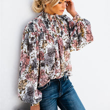 Load image into Gallery viewer, Nesa Fashion High Collar Blouse Fashion Ladies Floral Long Sleeve Casual Shirt Top Loose Lantern Sleeve Printed Turtle Neck Blouse Shirt Top