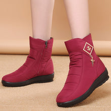 Load image into Gallery viewer, Nesa Fashion Women Ankle Boots  Winter Boots Female Warm Plush Snow Boots Middle Aged Mother Shoes Solid Fashion Waterproof Cotton Boots