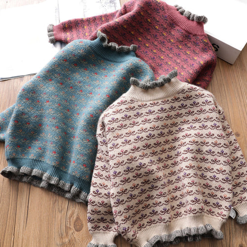 Nesa Fashion Autumn Winter girls Pullover Sweater Kids Striped Ribbed Knitting Sweater Children Soft girl Tops
