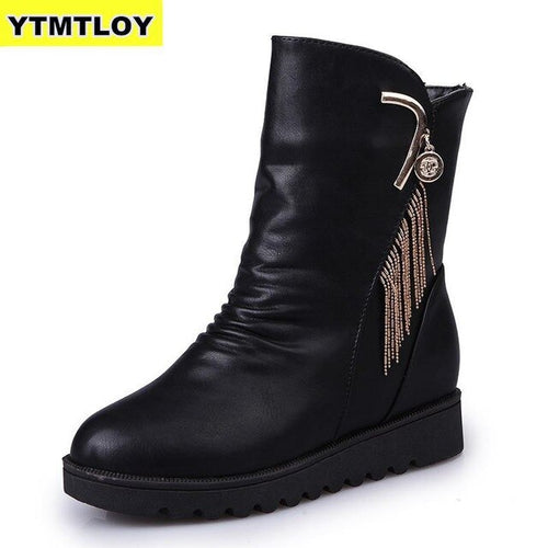 Nesa Fashion New Short Boots Women Autumn  Winter Round Head Woman  Leather Boots