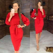 Load image into Gallery viewer, Nesa Fashion Women Sexy Dress Puffy Sleeves  o Neck Elegant Fashion Lady Party Club Dress