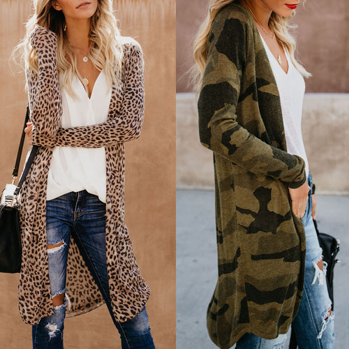 Nesa Fashion Street-wear Women Long Sleeve Cardigan Leopard Kimono Shawl Loose Tops Blouse